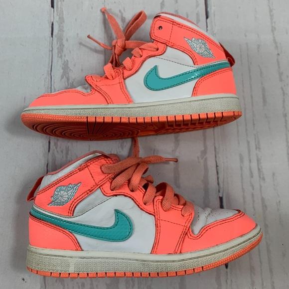 Nike Air Jordan 1 Mid GS Retro Orange 13C Shoes